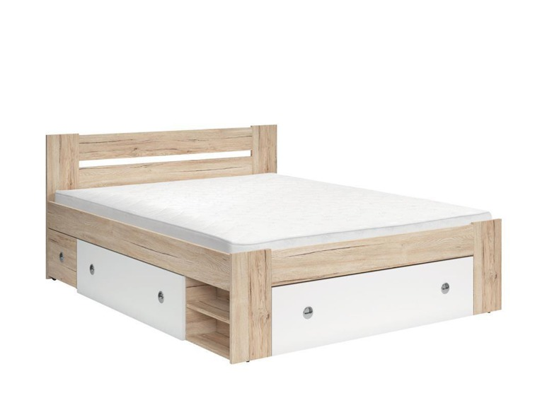 Bed 'STEFAN160-san remo oak light/white'