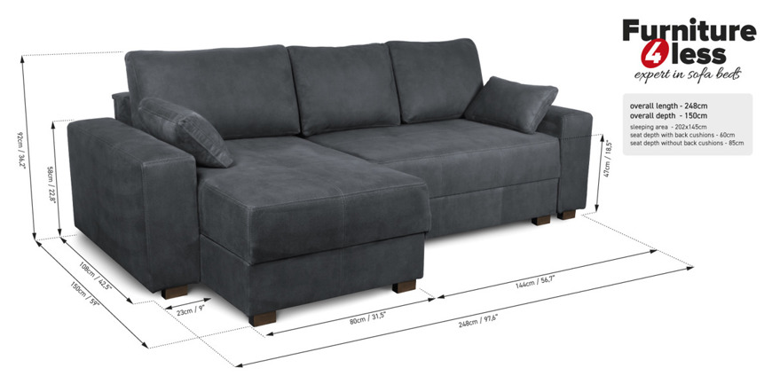 Corner Sofa Bed 'MOCCA' Dark Grey Gusto 08