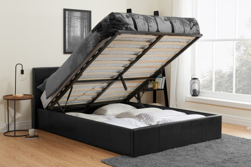 Ottoman Bed 'BERLIN' black faux leather